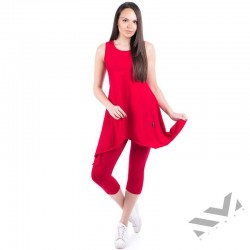 Спортен дамски комплект туника с клин Червен