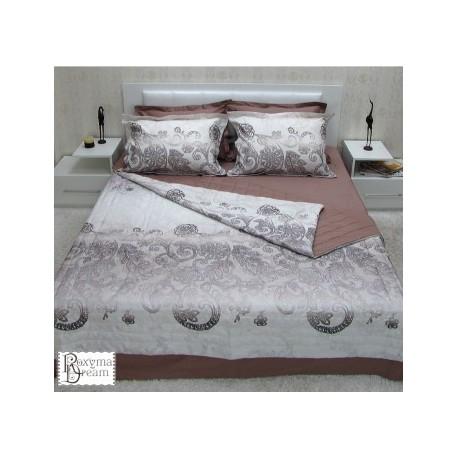 Спален комплект от памучен сатен Регал бежово