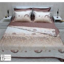 Спален комплект от памучен сатен Регал тъмно бежово